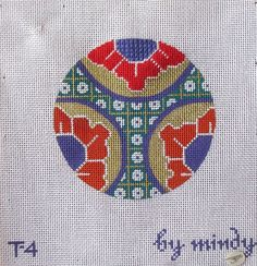 HAND PAINTED NEEDLEPOINT CANVAS -ORIENTAL DESIGN ORNAMENT BY MINDY #MINDAY
