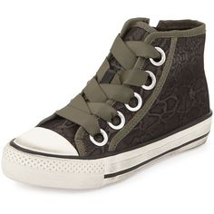 Ash snake-print canvas high-top sneaker with grosgrain trim.  1.3 flat heel.  Round rubber cap-toe.  Lace-up front.  Side zip for ease of dress.  Cushioned foo…