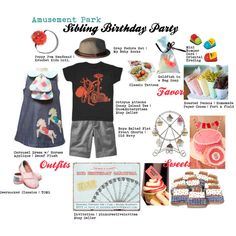 """Amusement Park Sibling Birthday Party"" by srgarlan on Polyvore"
