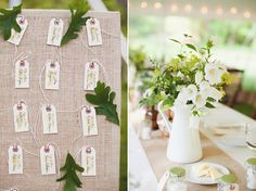 . burlap board . name tags for seat assignments . great table setting . @Lyndsea Hickman-Tim Tim