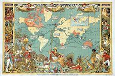 World, British Empire, Imperial Federation, Walter Crane, Vintage Map Antique World Map, Old World Maps, Old Maps, Antique Maps, Walter Crane, Ernst Hemingway, World Map Wall Art, Vintage Maps, Vintage Prints