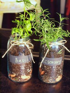 Thanks to Mina at Meet Mina, I finally learned how to do the mason jar herb garden without root rot.  Mylanta.  Broken terra cotta pots at the bottom to absorb extra moisture and provide moisture.  Gonna try it! these would make great gifts to share too:)