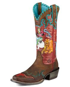 Ariat Women's Bronco Billie Boot - Weathered Brown/Ridem Girl  http://www.countryoutfitter.com/products/19423-womens-bronco-billie-boot-weathered-brown-ridem-girl #cowgirlboots