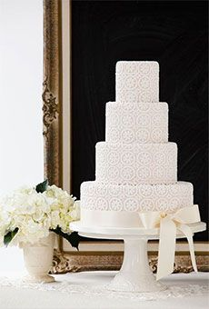 Four-Tier Wedding Cake with Vintage Lace | Wedding Cake