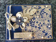 handmade card ... Botanical Bloom ... navy and kraft with vanilla ... Stampin' Up!