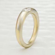 Masterful Platinum and 18K Gold Diamond Mokume Gane Engagement Ring by Steven Jacob on Mokume.com.