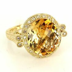 Estate 14 Karat Yellow Gold Diamond Citrine Cocktail Ring Fine Jewelry Pre-Owned $795