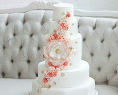 caketress coral white floral wedding cake