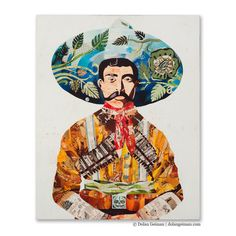 Bold, earth tone collage portrait paper print of southwestern Senor Americana archetype, featuring wide brimmed sombrero and curly handlebar mustache.