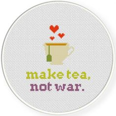 Make Tea Not War Cross Stitch Illustration