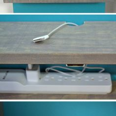 DIY shelf/charging station installed on a panel to hide the cords: DIY Cable Management