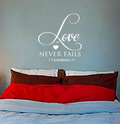 Love Never Fails Vinyl Wall Art from designstudiosigns on Etsy. Saved to Vinyl Wall Art Decals. Wall Art Designs, Wall Design, House Design, Vinyl Wall Art, Wall Decals, Vinyl Decals, Wall Hanger, Key Hangers, Love Never Fails
