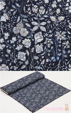 """navy blue cotton lawn fabric with light blue and white flowers, leaves, Material: 100% cotton, Fabric Type: lightweight cotton lawn fabric, Pattern Repeat: ca. 15cm (5.9"""") #Lawn #Flower #Leaf #Plants #USAFabrics"""