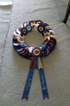 dog show ribbon wreath Horse Ribbon Display, Show Ribbon Display, Horse Show Ribbons, Ribbon Crafts, Ribbon Wreaths, Ribbon Projects, Tulle Wreath, Floral Wreaths, Burlap Wreaths