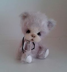 Inka By zorkabears - Inka is hand-sewn a teddy bear. She measured 15 cm (6 in) standing. The body has five joints. She is filled with hollow fiber and natural granulate. The eyes are glass. She is made of mohair.