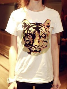 Fashion T-shirt with Tiger Head Pattern in White