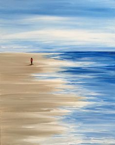 Sea and sky with one lone person for a walk on the beach. Nice beginner painting idea.