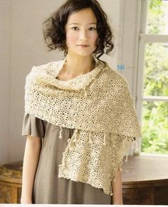 Cream Stole free crochet graph pattern