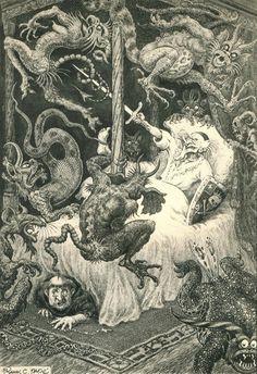 "Illustration from Don Quixote Retold by Ronald D. Storer, 1961 Illustration accompanying the poem ""O Where Are You Going"" by W. Dark Fantasy Art, Fantasy Kunst, Dark Art, Arte Horror, Horror Art, Art And Illustration, Art Macabre, Art Sinistre, Art Noir"