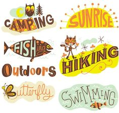 Summer Camp Art Licensing Collection by Nate Williams - Nate Williams - Illustration, Lettering & Animation Hand Lettering Fonts, Watercolor Lettering, Cool Lettering, Typography Letters, Lettering Design, Lettering Ideas, Lettering Styles, Logo Design, Graphic Design Letters