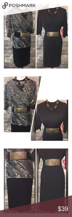 """8 PIECE SET! ANIMAL WRAP/DRESS/BELT/JEWELRY SZ 2X THIS IS IT!! THE HOTTEST TREND ANIMAL PRINT WITH BLING! NO NEED TO EVEN THINK, JUST PUT ON LOOK AMAZING AND GO!! $86! IN STORE  NEW GOLD ANIMAL PRINT FRINGE WRAP *MEASUREMENT ACROSS* LENGTH IN FRONT&BACK-26"""" ON SIDE-37""""  NEW HOT KISS BLACK LINED DRESS 2X LENGTH-40"""" BUST-21""""-26"""" WAIST-20""""-24"""" HIPS-22""""-26""""  ACCESSORIES (6) NEW GOLD NAILED ELASTIC BELT 2X-3""""WIDE/36""""-5'2""""LONG VINTAGE GOLD&GREY BLACK ROPE NECKLACE-24""""ADJ. VINTAGE FILIGREE…"""