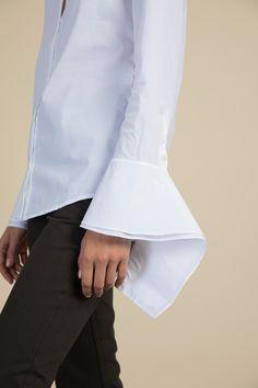 Reba Wrap Sleeve Poplin Shirt Palmer Harding, Poplin, Fitness Models, Bell Sleeve Top, Sleeves, Fabric, Cotton, Shirts, Collection