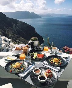 A wonderful awakening with breakfast and breathtaking views of Santorini❤️ Oh The Places You'll Go, Places To Travel, Travel Destinations, Santorini Grecia, Travel Goals, Outdoor Dining, Dream Vacations, Summer Vacations, Adventure Travel