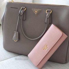 PRADA gray tote style purse w/ Pink wallet Prada Bag, Prada Handbags, Handbags Michael Kors, Purses And Handbags, Prada Wallet, Coach Handbags, High End Handbags, Prada Purses, Purse Wallet