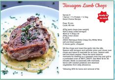 Weigh-Less Good Choice Recipe Dry White Wine, Lamb Chops, Venison, Food Menu, Elk, Allrecipes, Meal Ideas, Buffalo, Food And Drink