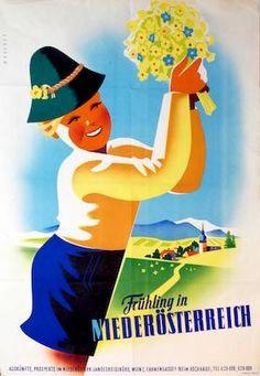 Frühling in Niederösterreich, Maschek, Rudolf, 1953 Vintage Travel Posters, Vintage Ads, Vintage Designs, Luggage Labels, Travel Cards, Grafik Design, Austria, Vintage Inspired, Art Deco