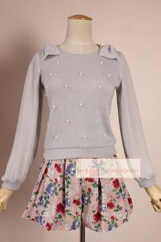 外貿原單春秋新款 甜美可愛蝴蝶結雪紡袖釘珠長袖針織衫 打底衫-淘寶網