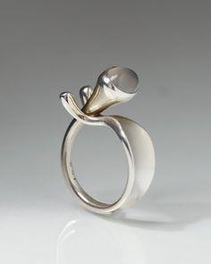 Ring designed by Torun Bülow-Hübe for Georg Jensen, Denmark. 1960's.