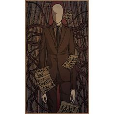Slender Man by relssaH found on Polyvore featuring creepypasta