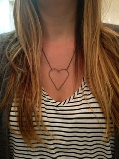Big Bronze Heart Necklace by elladolce on Etsy, $24.00