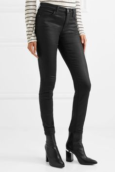Current/Elliott - The High Waist Coated Skinny Jeans - Black