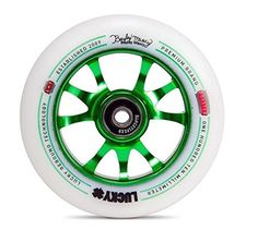 The Lucky Toaster pro scooter wheel has a spoked metal core, custom urethane with Lucky Rebound Technology for the best riding experience. Get Lucky! Scooter Wheels, Scooter Parts, Pro Scooters, Rebounding, Toaster, Green, Sports Wheelchair, Bmx, Skate