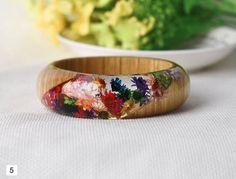 Resin bangle bracelet Resin Ring Flower Jewelry Resin