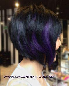 Stunning asymmetrical haircut in black with deep dark purple peek-a-boo streaks created by Salon RIAH in Sydney Australia! More Hair Styles Like This! Short Dark Hair, Short Straight Hair, Bright Hair Colors, Purple Colors, Dark Purple, Purple Streaks, Purple Ombre, Dark Brown, Teal