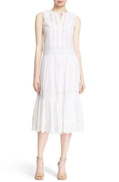 Rebecca Taylor Cotton Lace & Voile Drawstring Midi Dress available at…