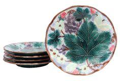 19th-C. Majolica Dessert Plates, S/5