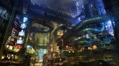Concept art from Alita: Battle Angel - Iron City, by Dylan Cole : Gunnm Cyberpunk City, Cyberpunk Aesthetic, Neon Aesthetic, Cyberpunk Fashion, Future City, Dylan Und Cole, Eco City, Battle Angel Alita, Sci Fi Environment