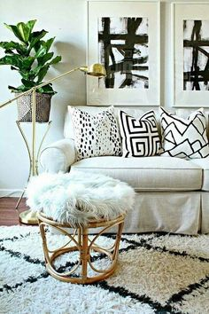 Boho style white living room furnishings and seating
