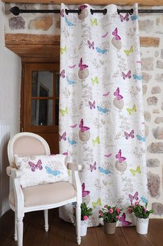 Multicolor Butterfly Drape – White for your bedroom, living room or kitchen.