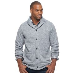 Big & Tall SONOMA Goods for Life™ Classic-Fit Fleece Shawl-Collar Cardigan Sweater, Men's, Size: Xl Tall, Grey