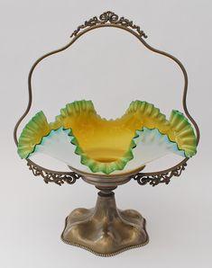 Bride's basket - Cased glass bowl with metal holder c.1895.