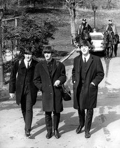 Beatles in long jackets. HOT!