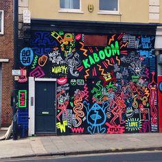 neon graphic design graffiti street art in stokes croft bristol
