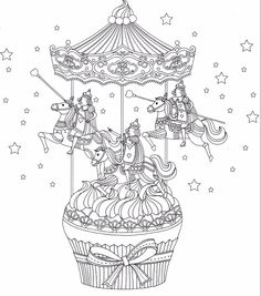 Cup cake carousel coloring page