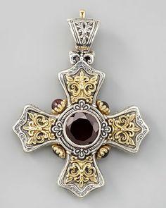 Konstantino Garnet Cross Pendant - Neiman Marcus