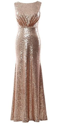 Long Bridesmaid Gown Sheath Sequin Formal Party Evening